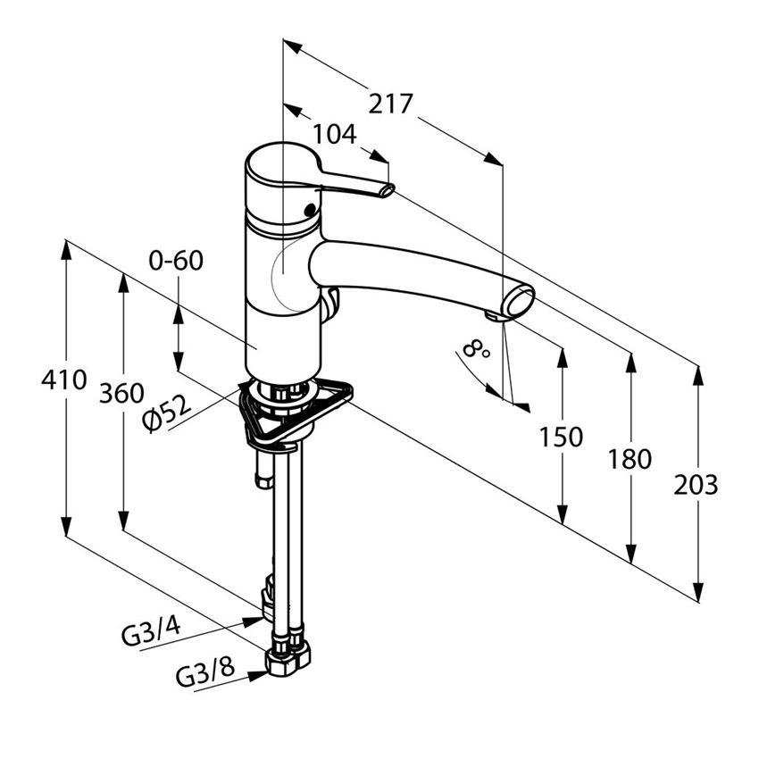 Jednouchwytowa bateria kuchenna Multi DN 15 Kludi Trendo rysunek techniczny