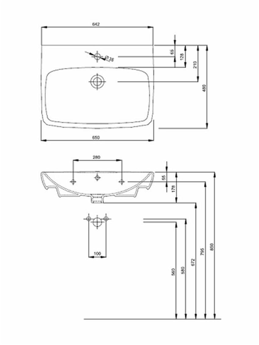 Umywalka prostokątna 65 cm Koło Nova Pro rysunek techniczny
