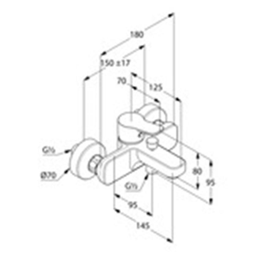 Bateria wannowo-prysznicowa Kludi Pure&Easy rysunek techniczny