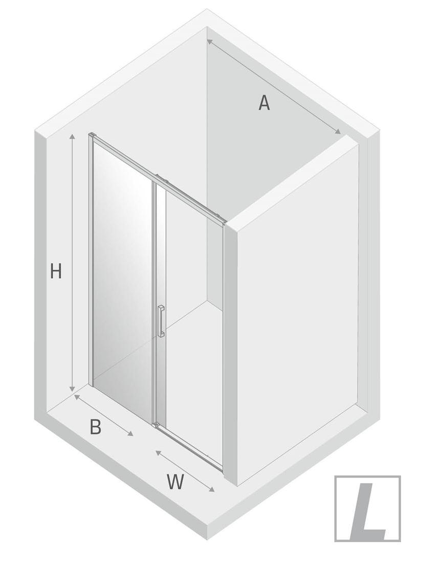Drzwi prysznicowe przesuwne New Trendy Prime Black lewe rysunek