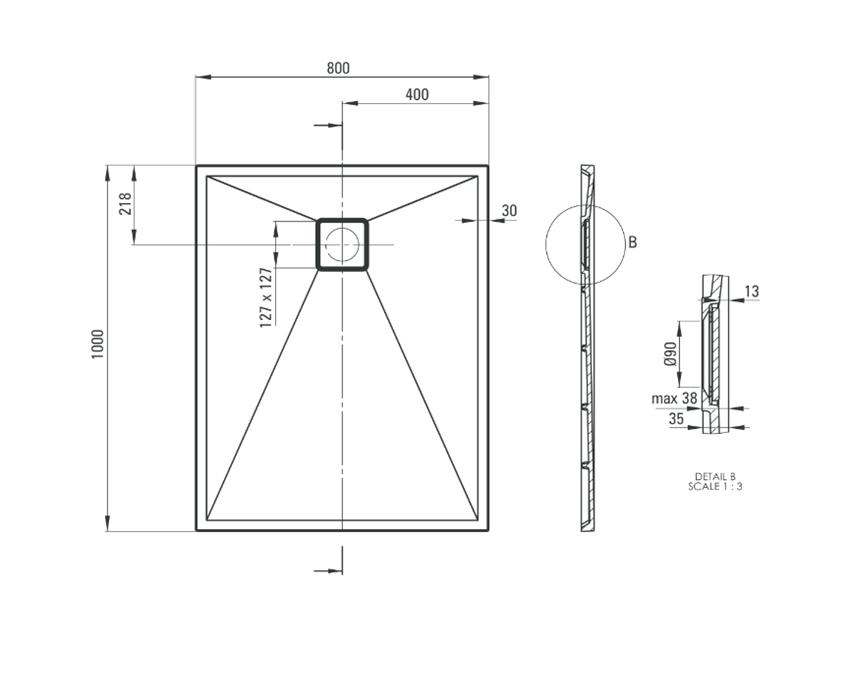 Brodzik prostokątny granitowy 100x80 cm Deante Correo rysunek