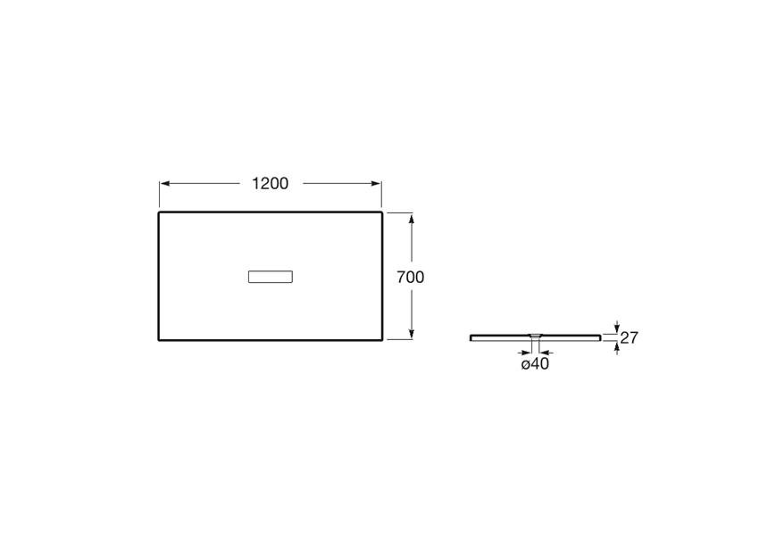 Brodzik prostokątny 120x70x2,7 cm Roca Helios rys.techniczny
