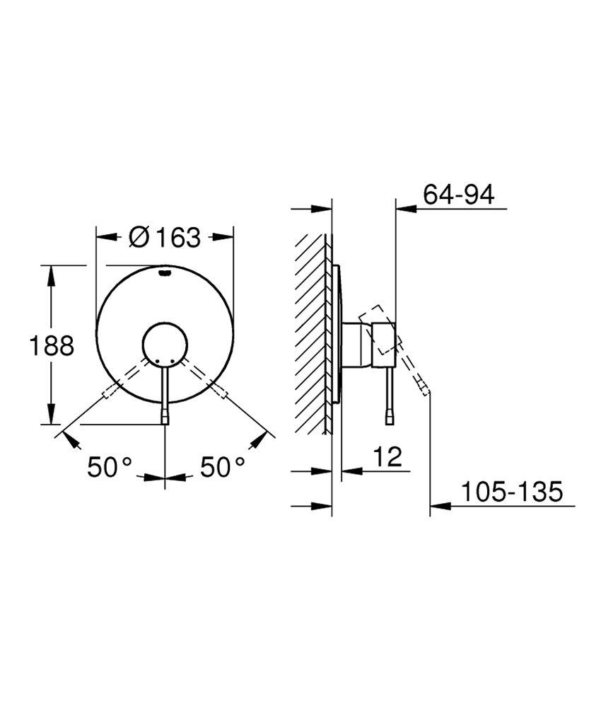Bateria prysznicowa jednouchwytowa rysunek techniczny