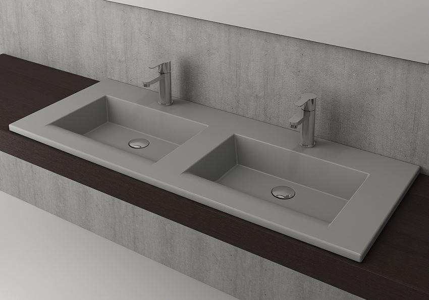 Umywalka podwójna meblowa/nablatowa 120 cm Matt Grey Bocchi Milano