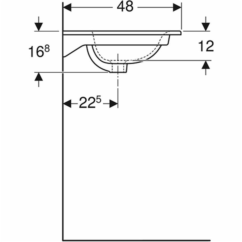 Umywalka meblowa 55 cm z niskim rantem z otworem i przelewem Koło Nova Pro Premium rysunek