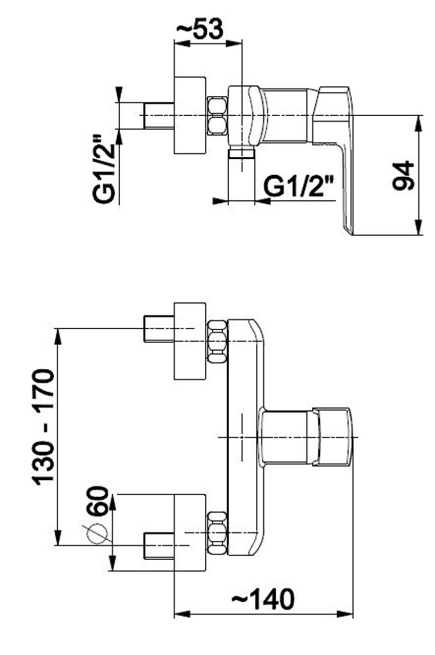 Bateria natryskowa KFA Aquamaryn rysunek techniczny