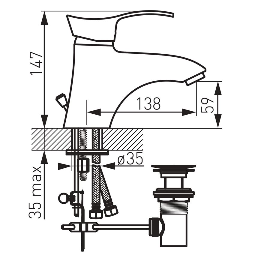 Bateria umywalkowa stojąca Ferro Padwa rysunek techniczny