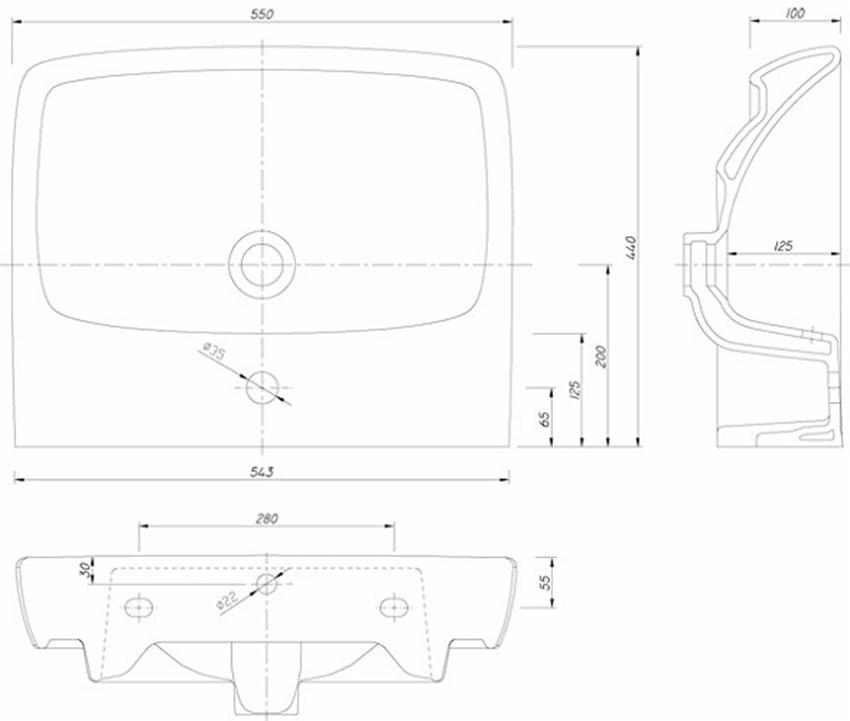 Umywalka prostokątna 55 cm Koło Nova Pro rysunek techniczny