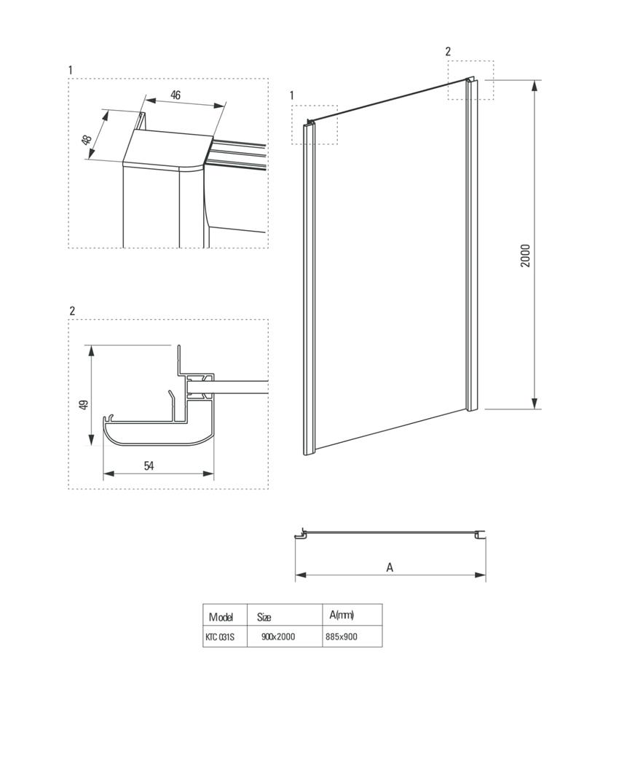 Ścianka boczna 90x200 cm Deante Cynia rysunek