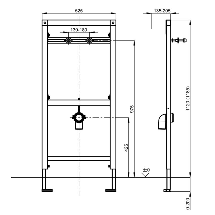 Stelaż podtynkowy do pisuarów bezwodnych Franke Aquafix rysunek techniczny