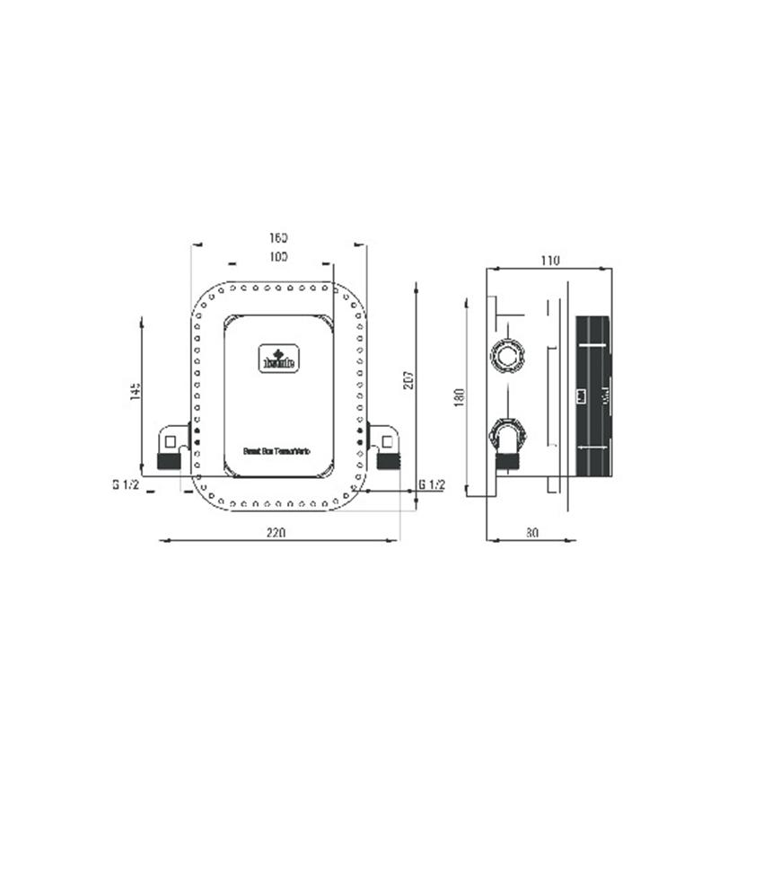 Komplet z boxem podtynkowym wannowy z napełnieniem przez syfon Deante Hiacynt rysunek techniczny