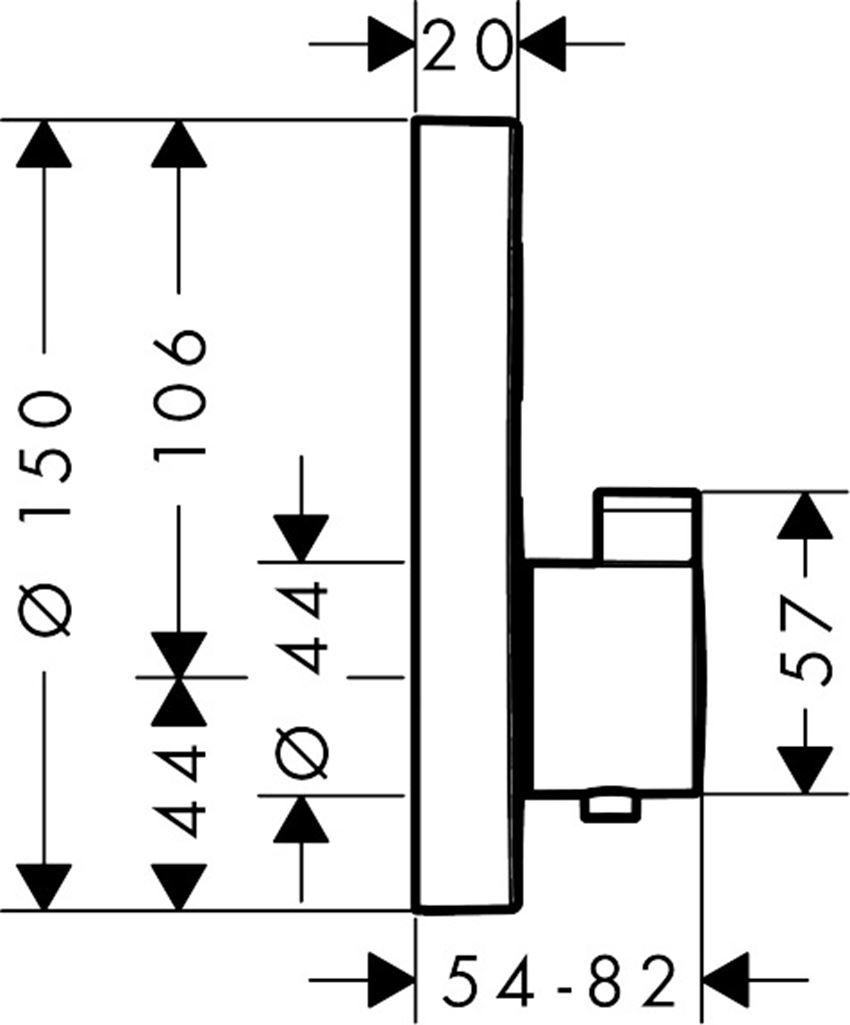 Bateria termostatyczna do 1 odbiornika element zewnętrzny Hansgrohe ShowerSelect rysunek techniczny