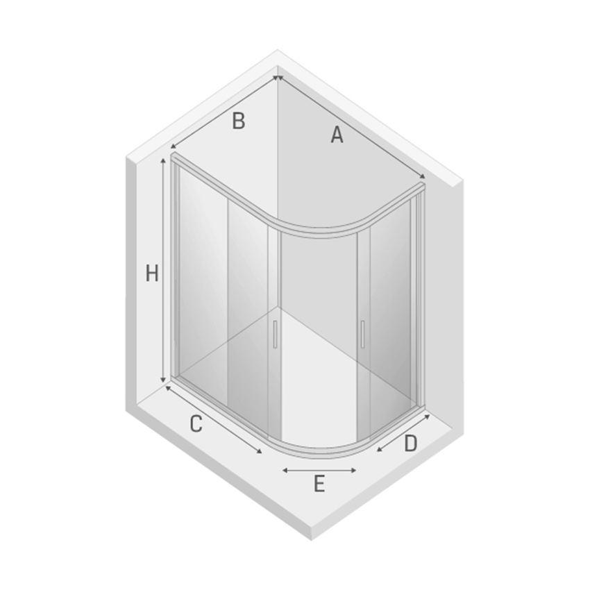 Półokrągła kabina prysznicowa asymetryczna New Trendy New Varia rysunek techniczny