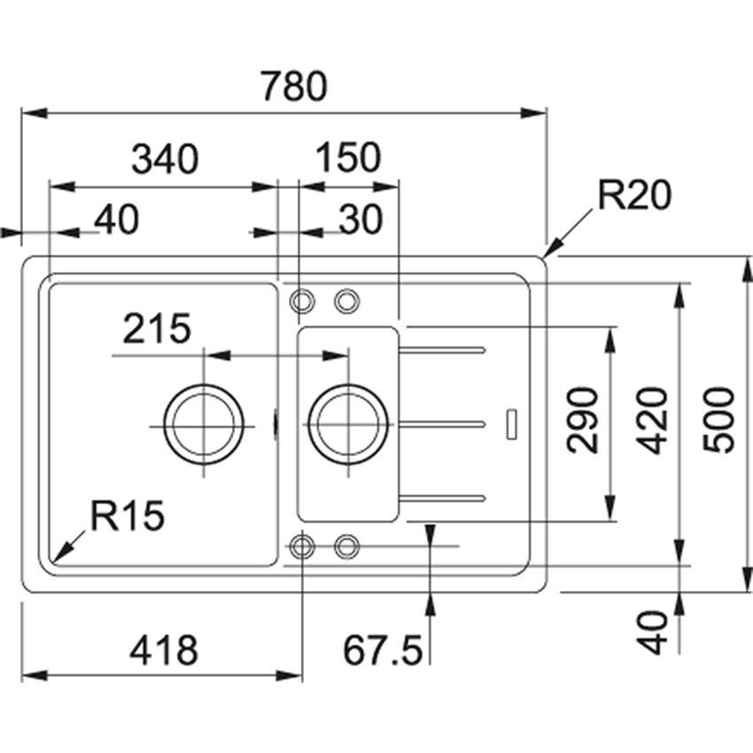 Zlewozmywak 1,5-komorowy z ociekaczem Franke Basis BFG BFG 651-78 rysunek techniczny