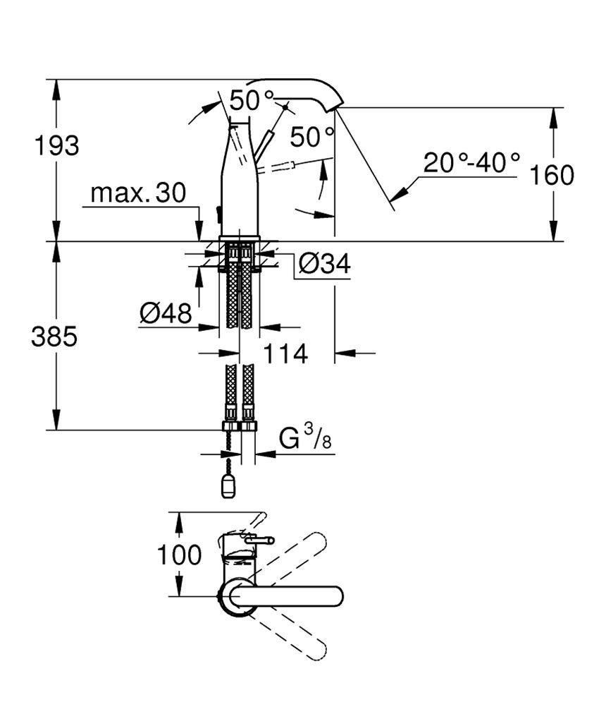 Bateria umywalkowa rozmiar M chrom 19,3 cm Grohe Essence rysunek techniczny