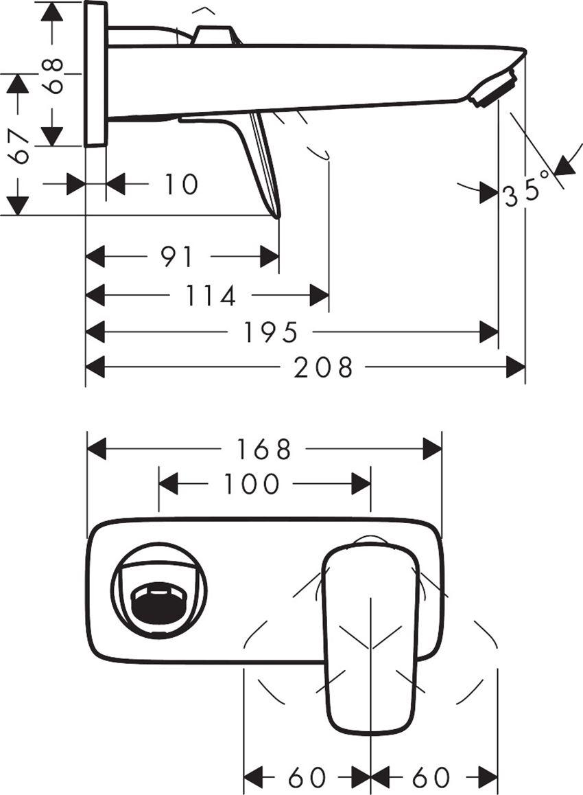 Jednouchwytowa bateria umywalkowa podtynkowa Hansgrohe Logis rysunek techniczny