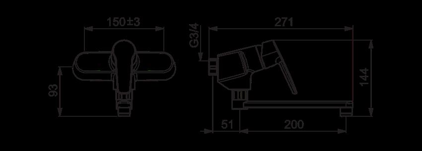 Bateria kuchenna Oras Saga rysunek techniczny