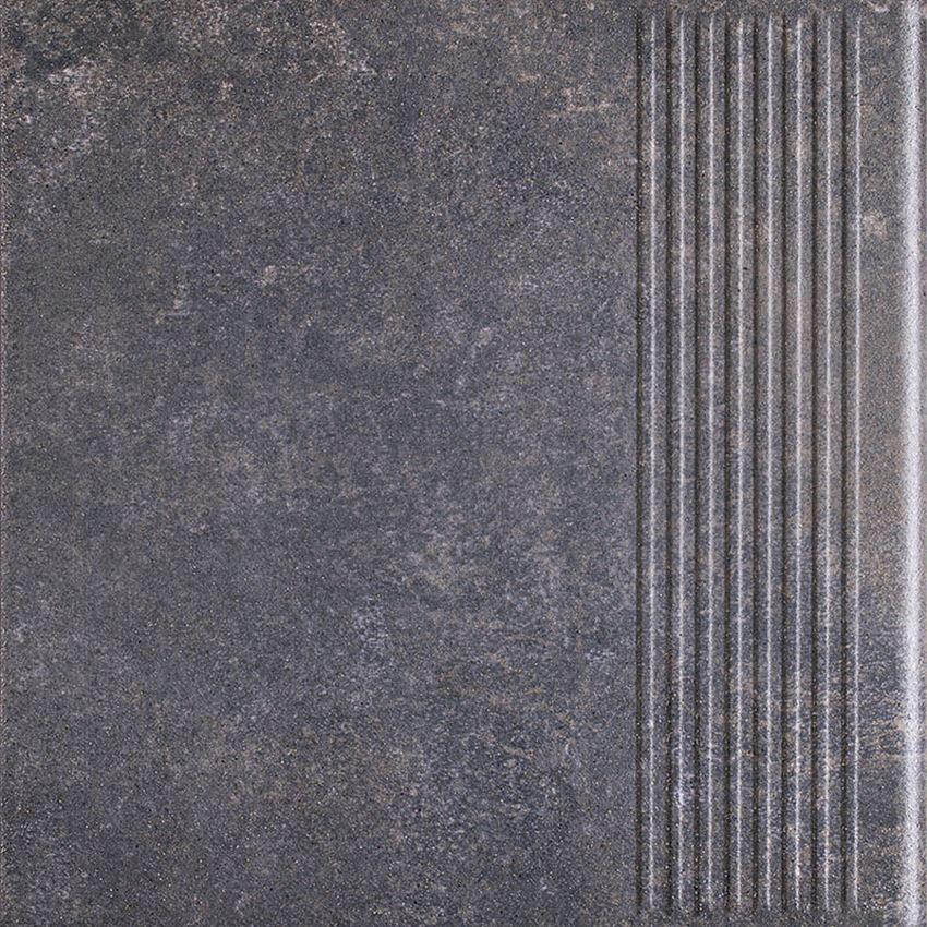 Płytka stopnicowa 30x30 cm Paradyż Viano Antracite Stopnica Prosta