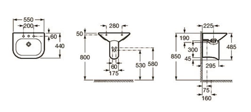 Umywalka ścienna 55x44 cm Roca Nexo rysunek techniczny