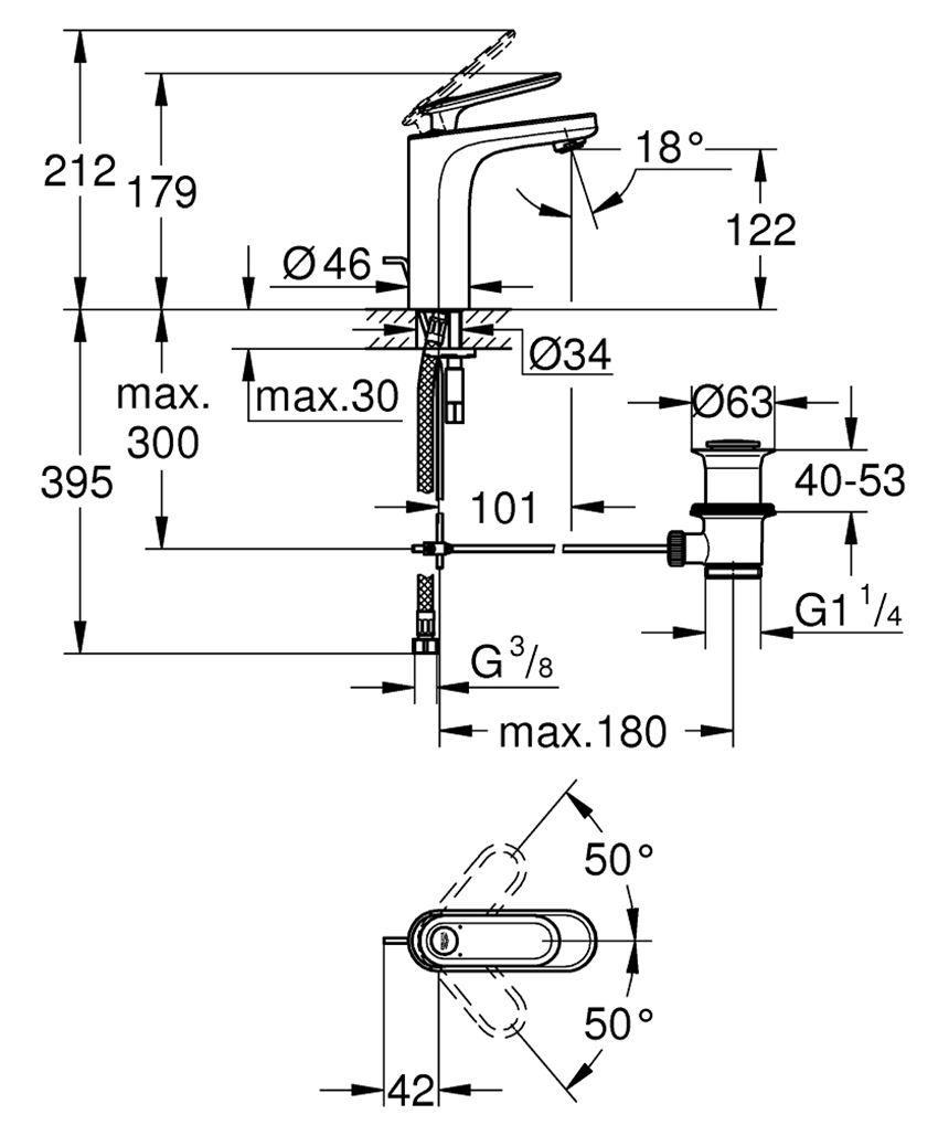 Bateria umywalkowa Grohe Veris rysunek techniczny