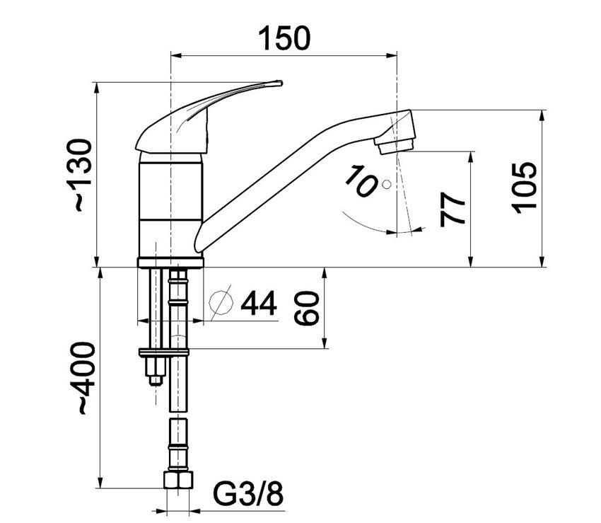 Bateria umywalkowa KFA Jaspis rysunek techniczny