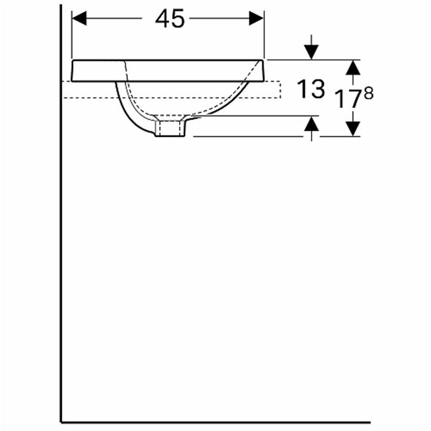 Umywalka owalna wpuszczana w blat z przelewem i otworem 50 cm Koło VariForm rysunek techniczny