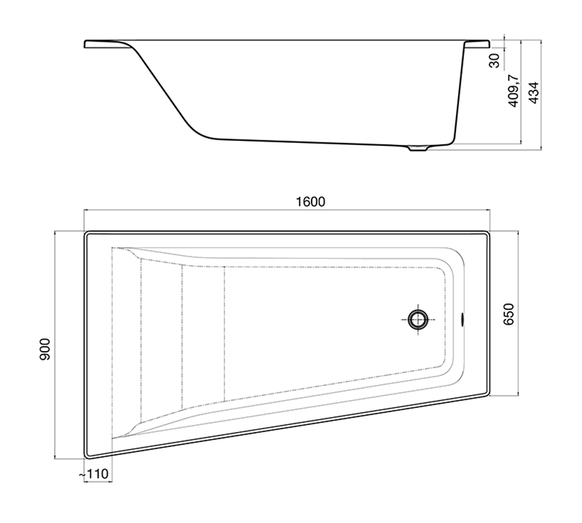 Asymetryczna narożna wanna akrylowa Lewa 160x90x40,6 cm Roca Easy rysunek techniczny