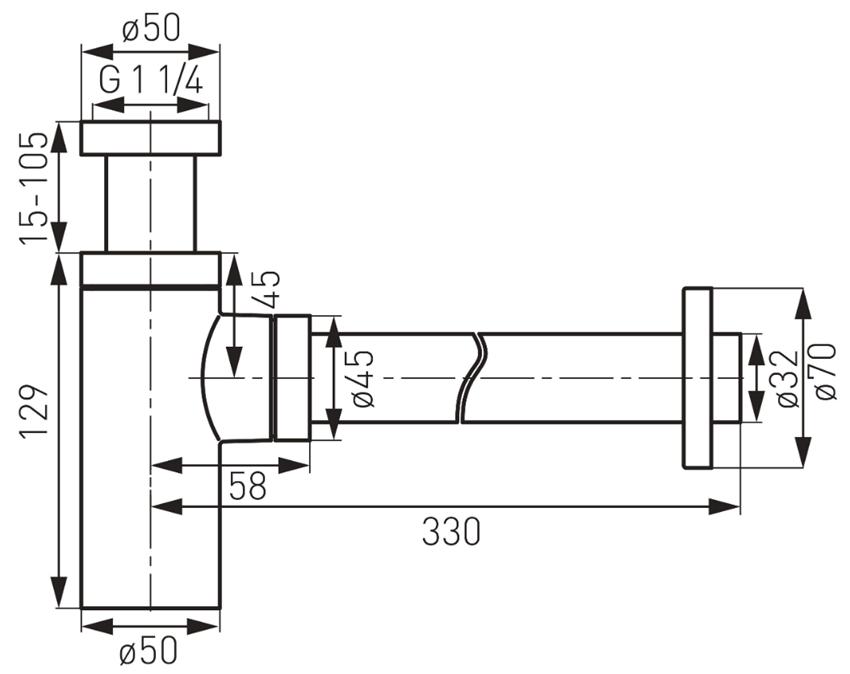 Syfon butelkowy cylindryczny FDesign Kleome rysunek