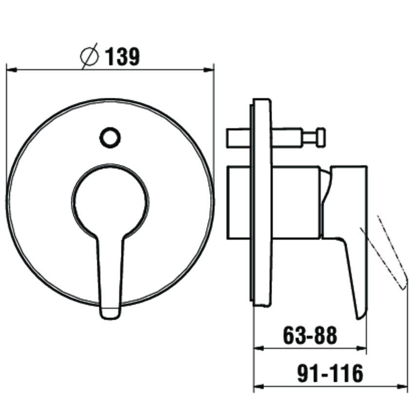 Podtynkowa bateria wannowo-natryskowa Laufen Val rysunek techniczny