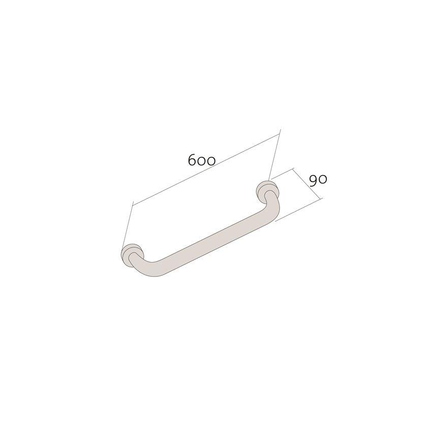 Uchwyt ścienny prosty 60 cm Cersanit etiuda rysunek techniczny