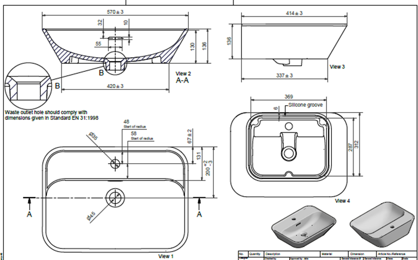 Umywalka nablatowa powłoka CLEAN PLUS+ 57x41,5 cm IÖ Orta rysunek