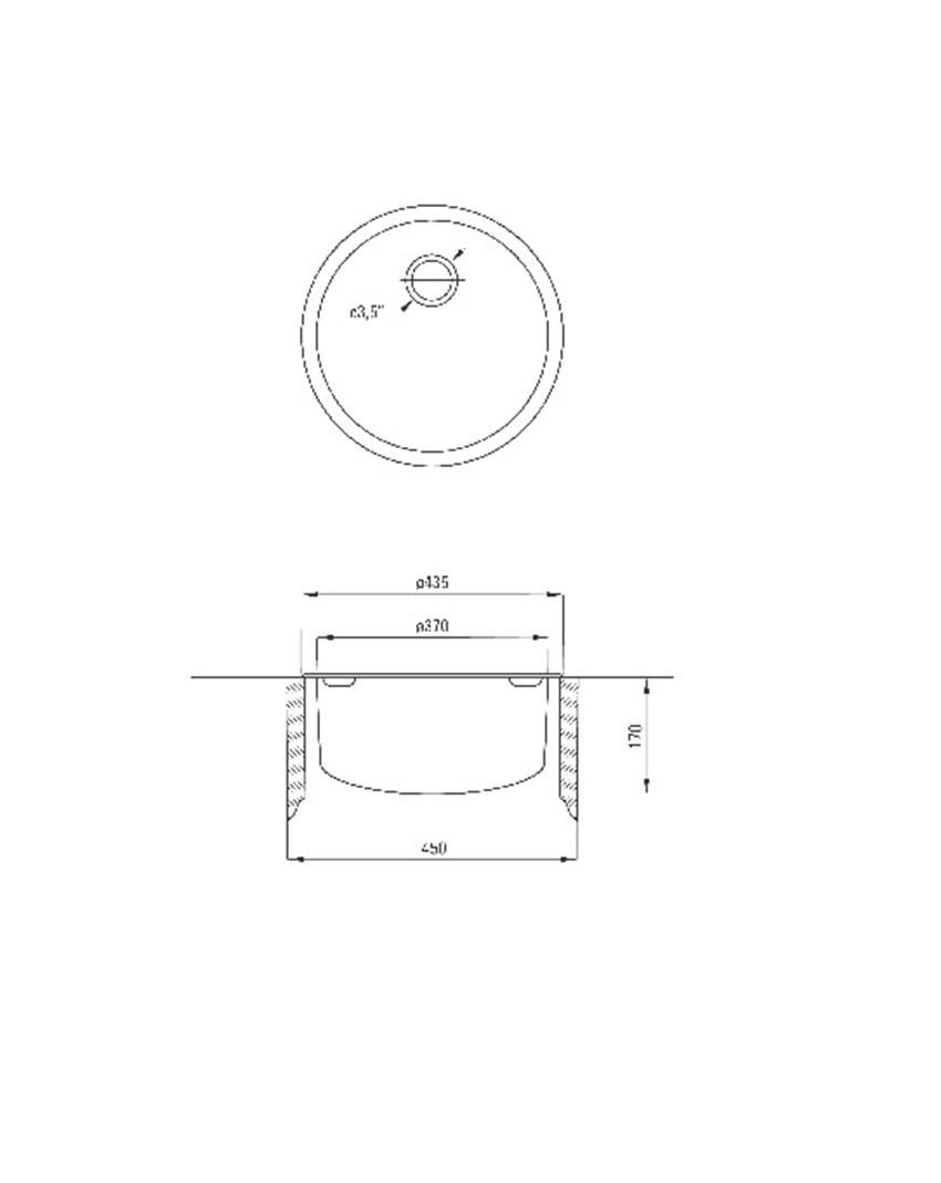 Zlewozmywak 1-komorowy okrągły bez ociekacza Deante Twist rysunek techniczny