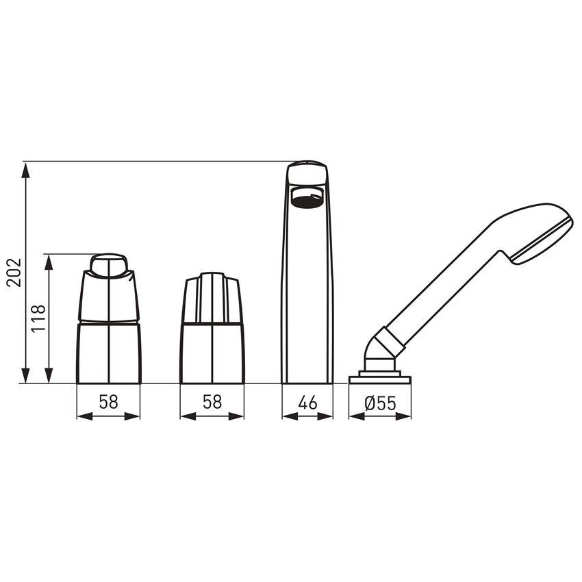 Bateria wannowa wielootworowa Ferro Metalia 56 rysunek techniczny