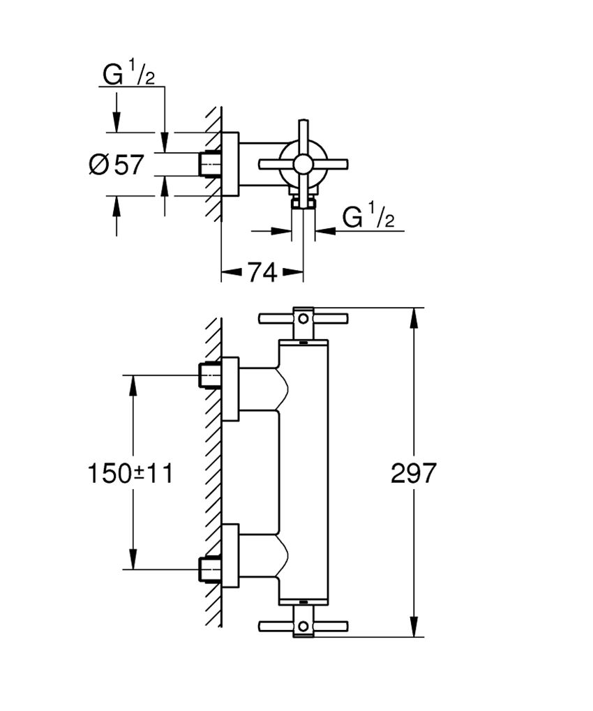 Bateria natryskowa ścienna Grohe Atrio rysunek techniczny