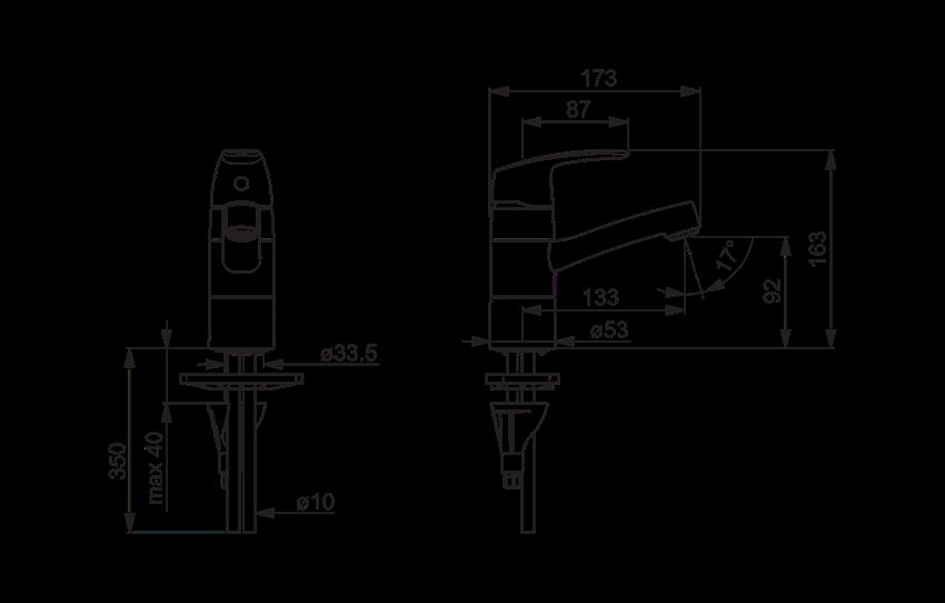 Bateria umywalkowa z obrotową wylewką Oras Safira rysunek techniczny