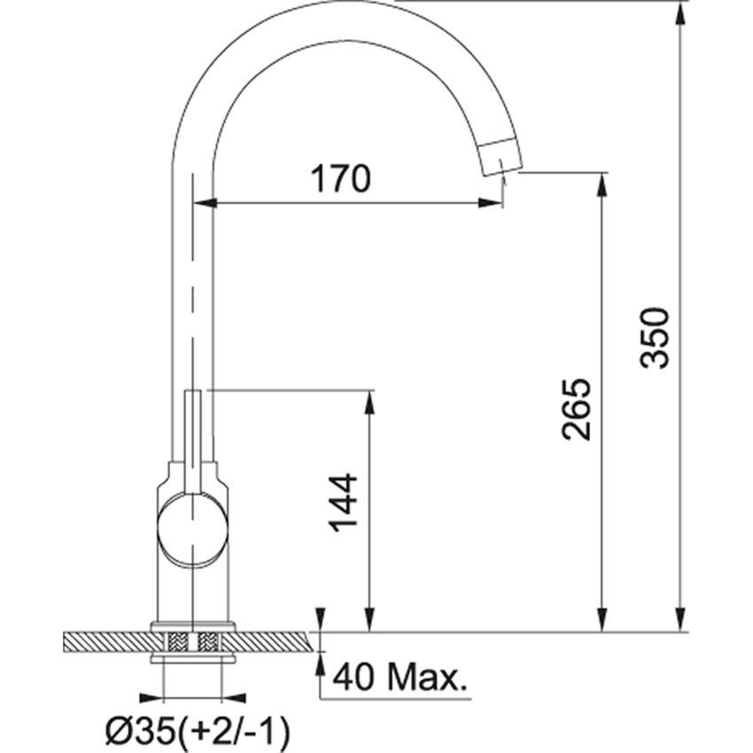 Jednouchwytowa bateria kuchenna Franke Pola rysunek techniczny
