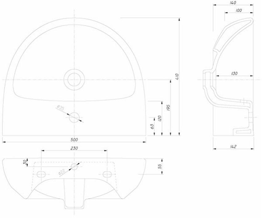 Umywalka półokrągła 50 cm Koło Nova Pro rysunek techniczny