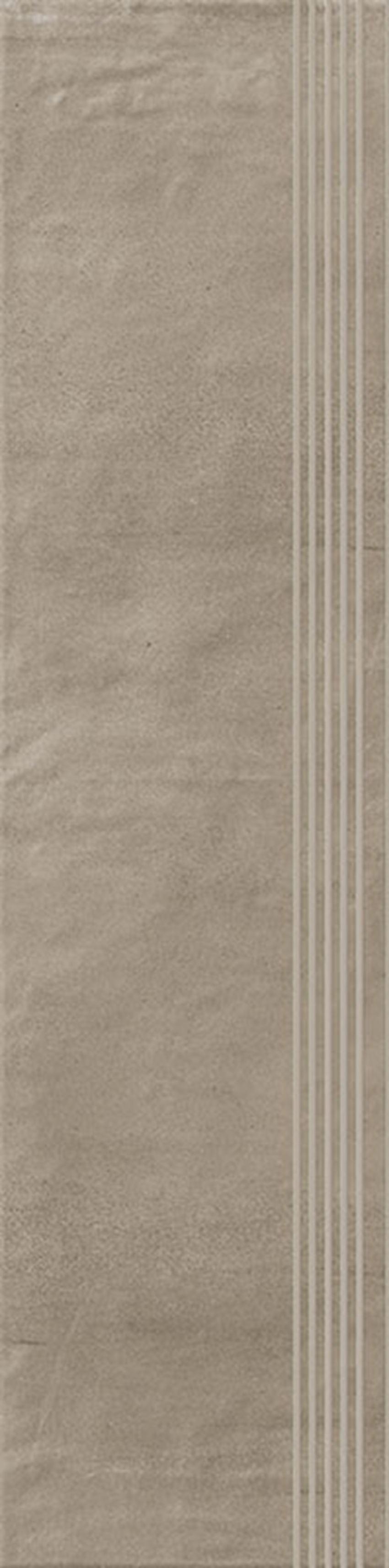 Płytka stopnicowa 29,8x119,8 cm Paradyż Hybrid Stone Mocca Stopnica Prosta Nacinana