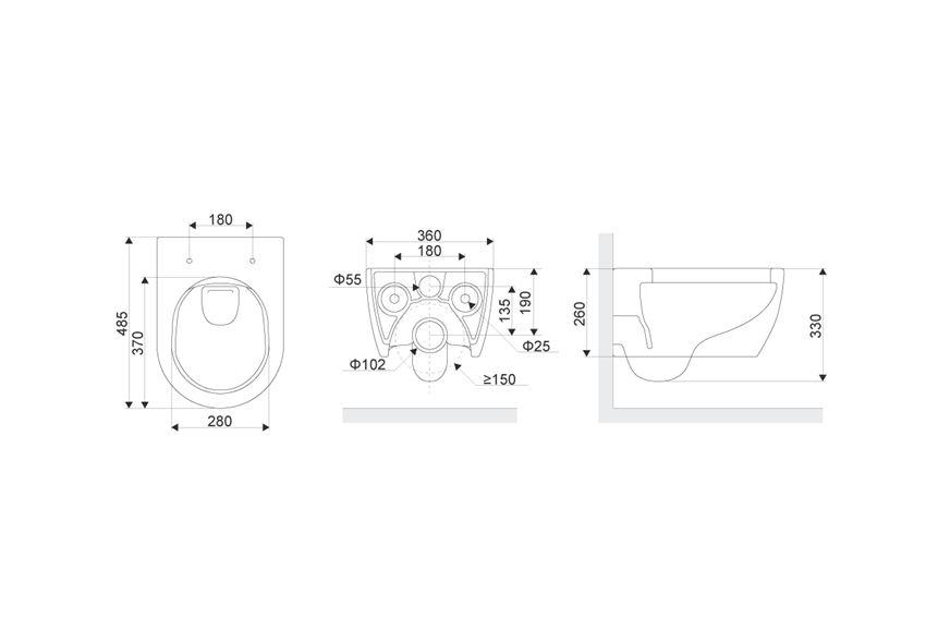 Miska podwieszana IÖ Argus 480x360 rys techniczny