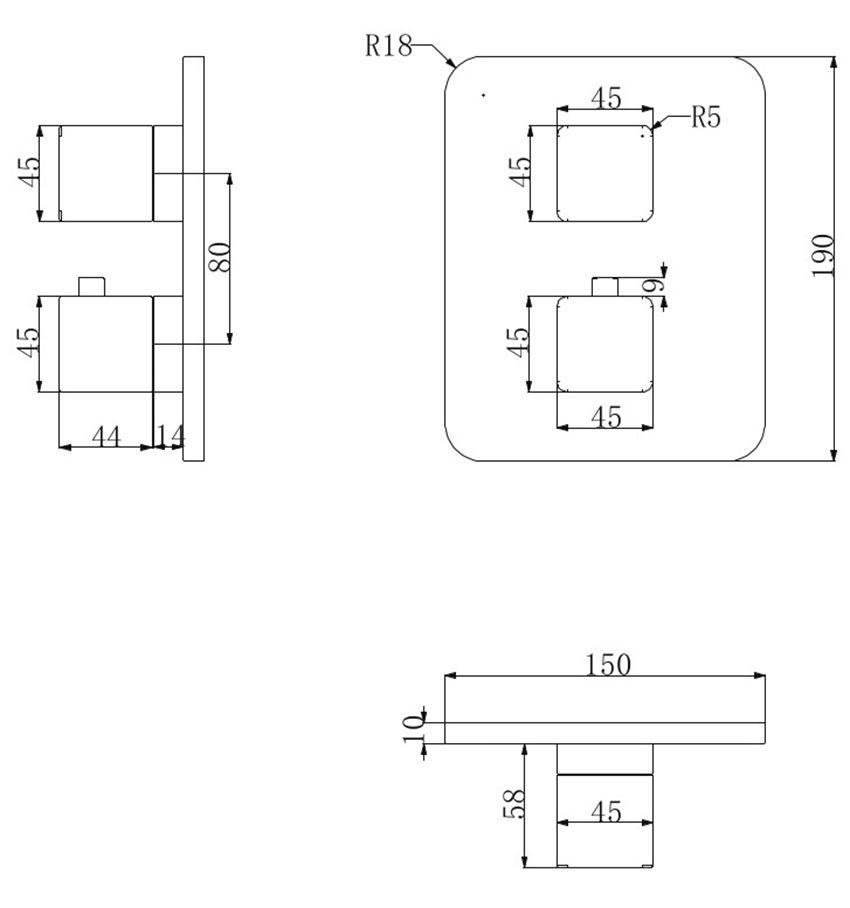 Bateria wannowa podtynkowa termostatyczna Omnires Parma rys.techniczny
