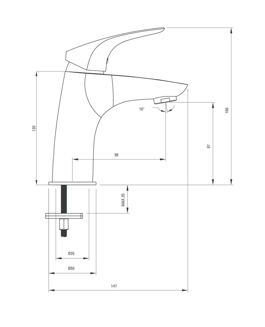 Bateria umywalkowa stojąca Deante Cynia rysunek