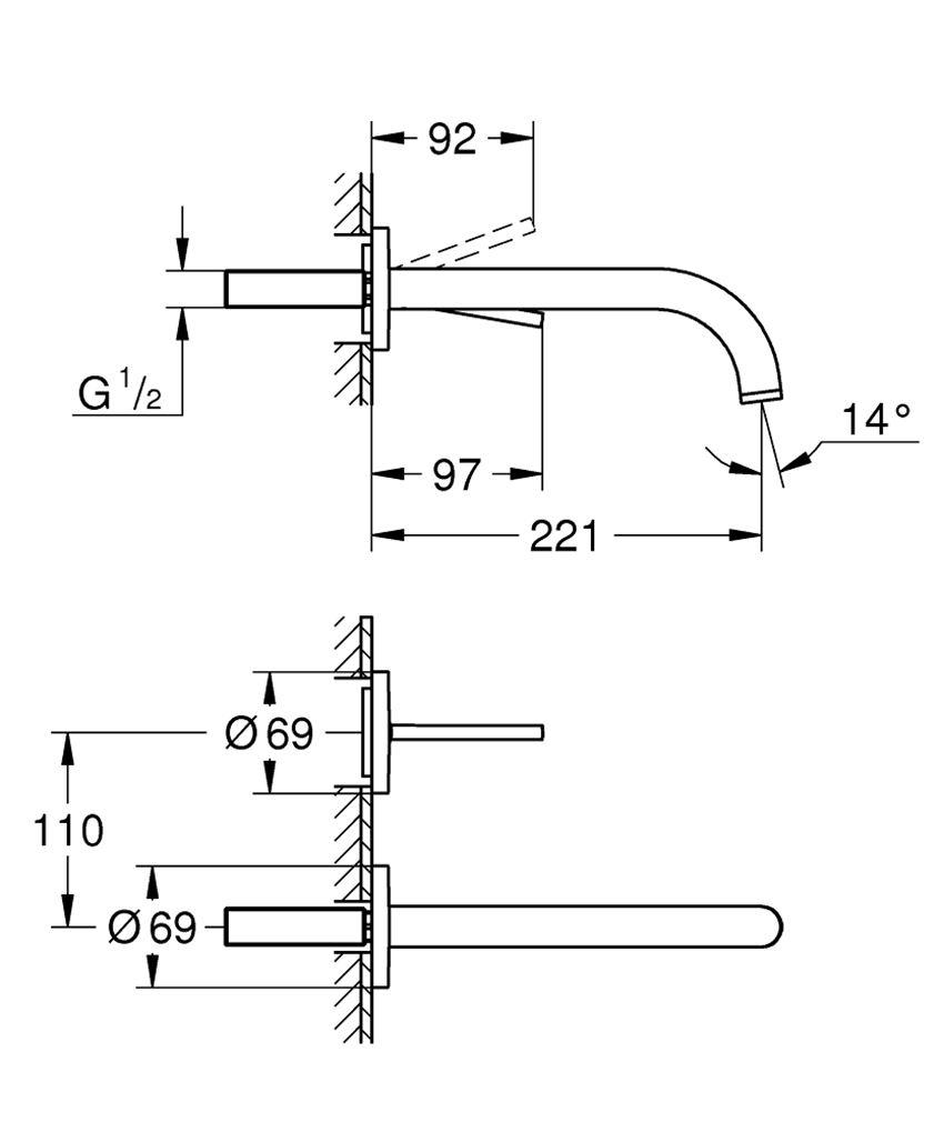 2-otworowa bateria umywalkowa bez elementów do zabudowy podtynkowej Grohe Atrio rysunek techniczny