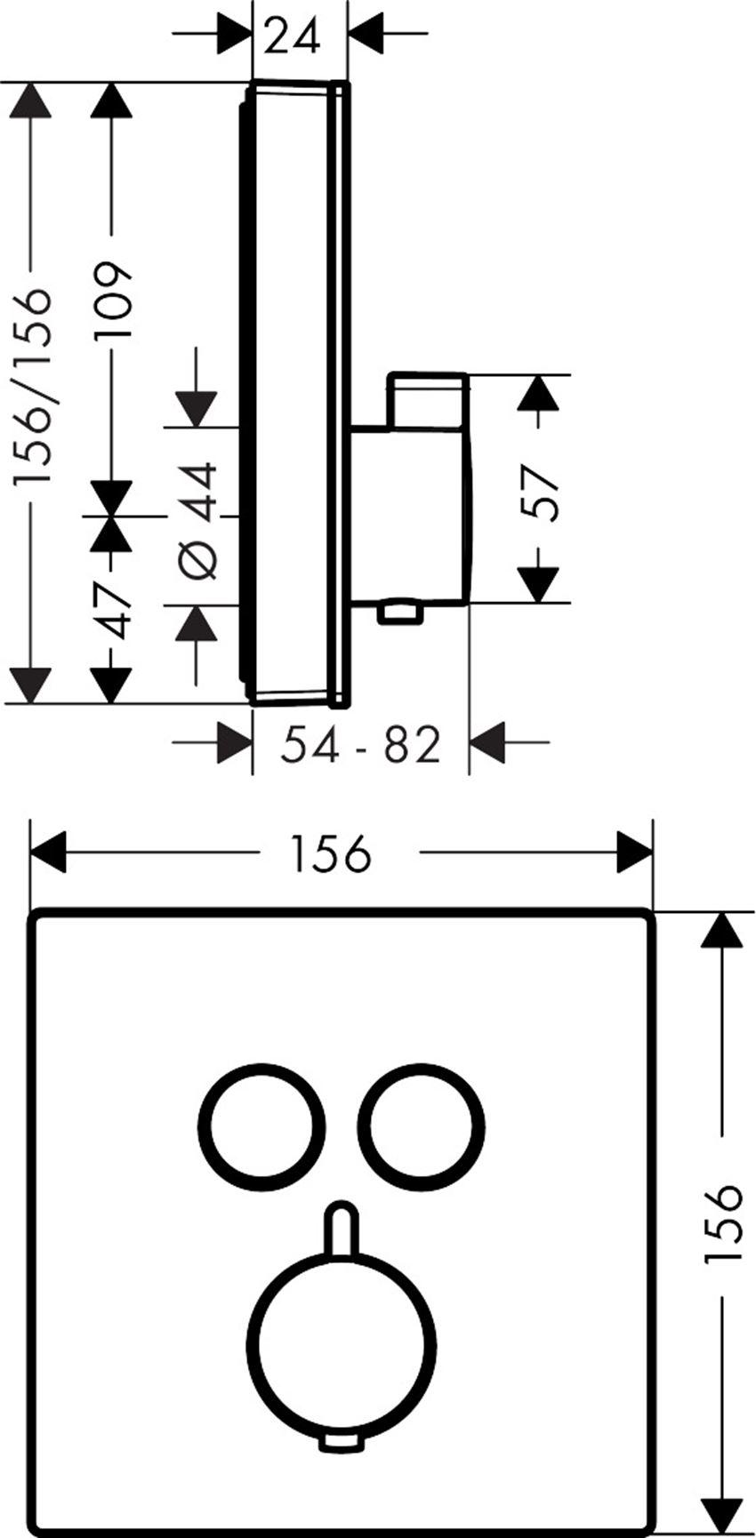 Bateria termostatyczna do 2 odbiorników Hansgrohe ShowerSelect Glass rysunek