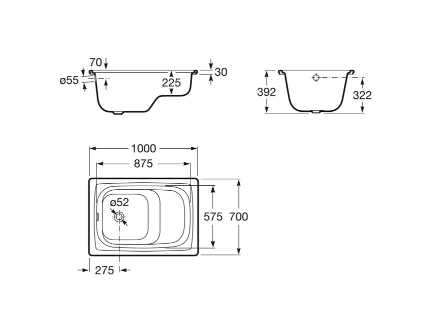 Prostokątna wanna stalowa z siedziskiem 100x70x39 cm Roca Contesa rysunek techniczny