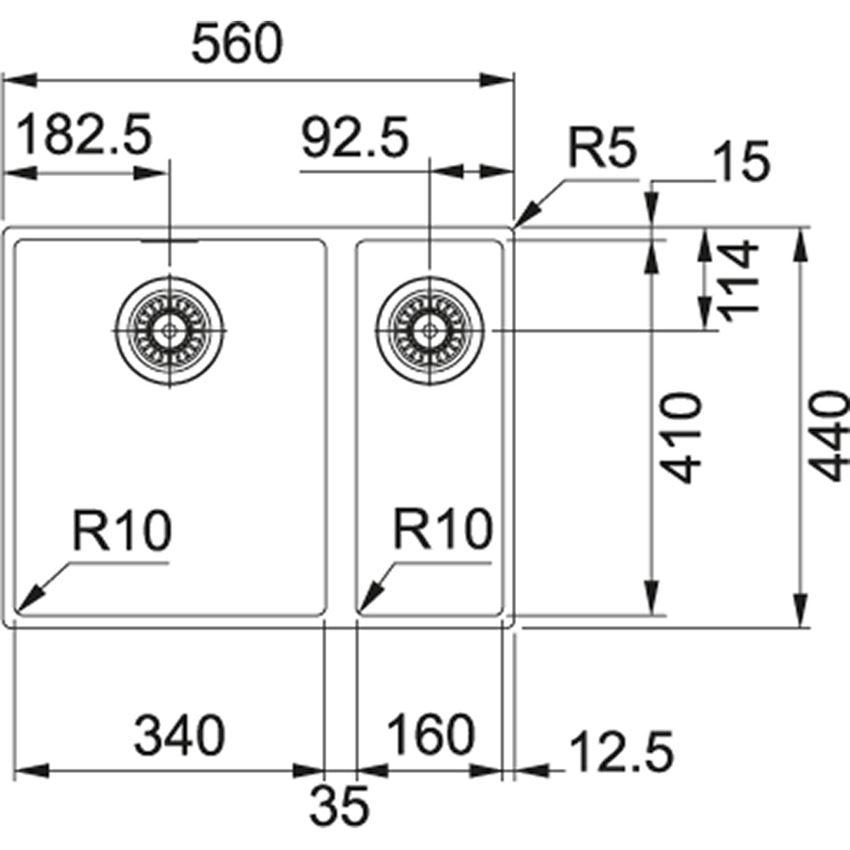 Zlewozmywak 1,5-komorowy Franke Sirius SID 160 rysunek techniczny