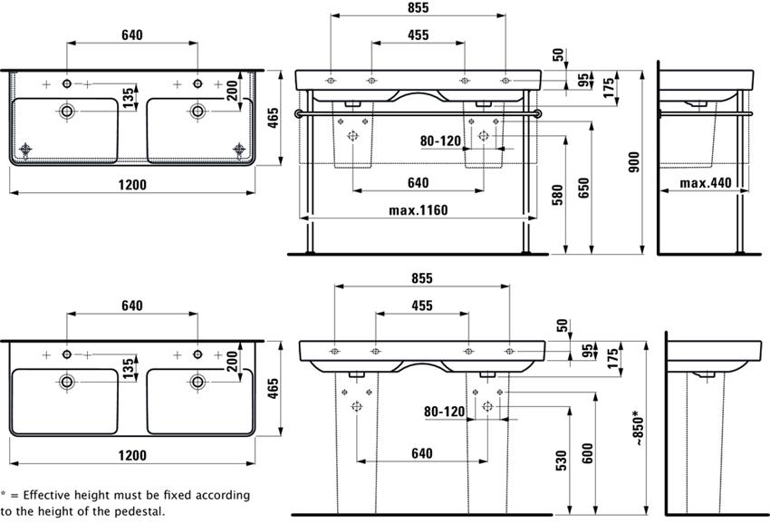 Umywalka podwójna 120 cm Laufen Pro S rysunek