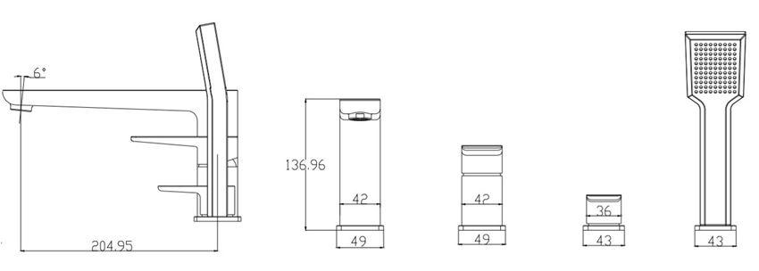 Bateria wannowa 4-otworowa Omnires Parma rys.techniczny