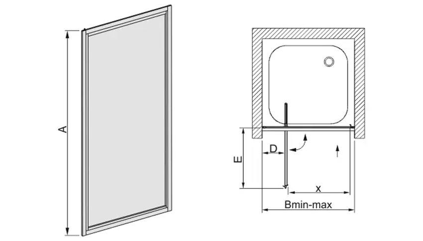 Drzwi skrzydłowe 900-100x185 cm Sanplast Classic rysunek