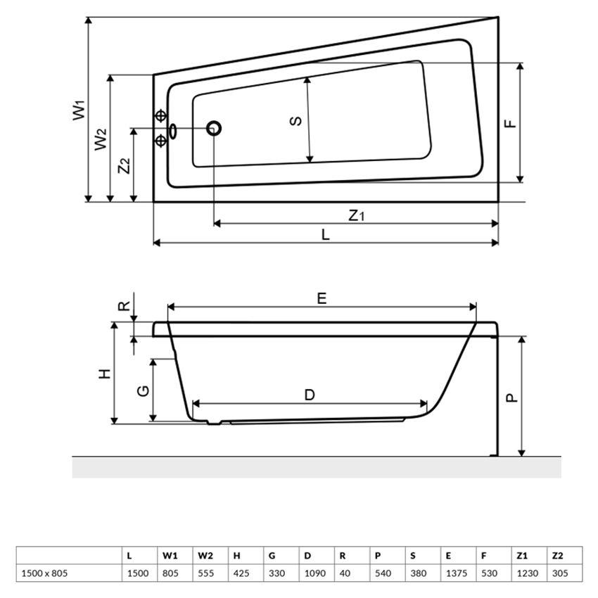 Wanna narożna prawa 150x80,5 cm Excellent Ava rysunek techniczny