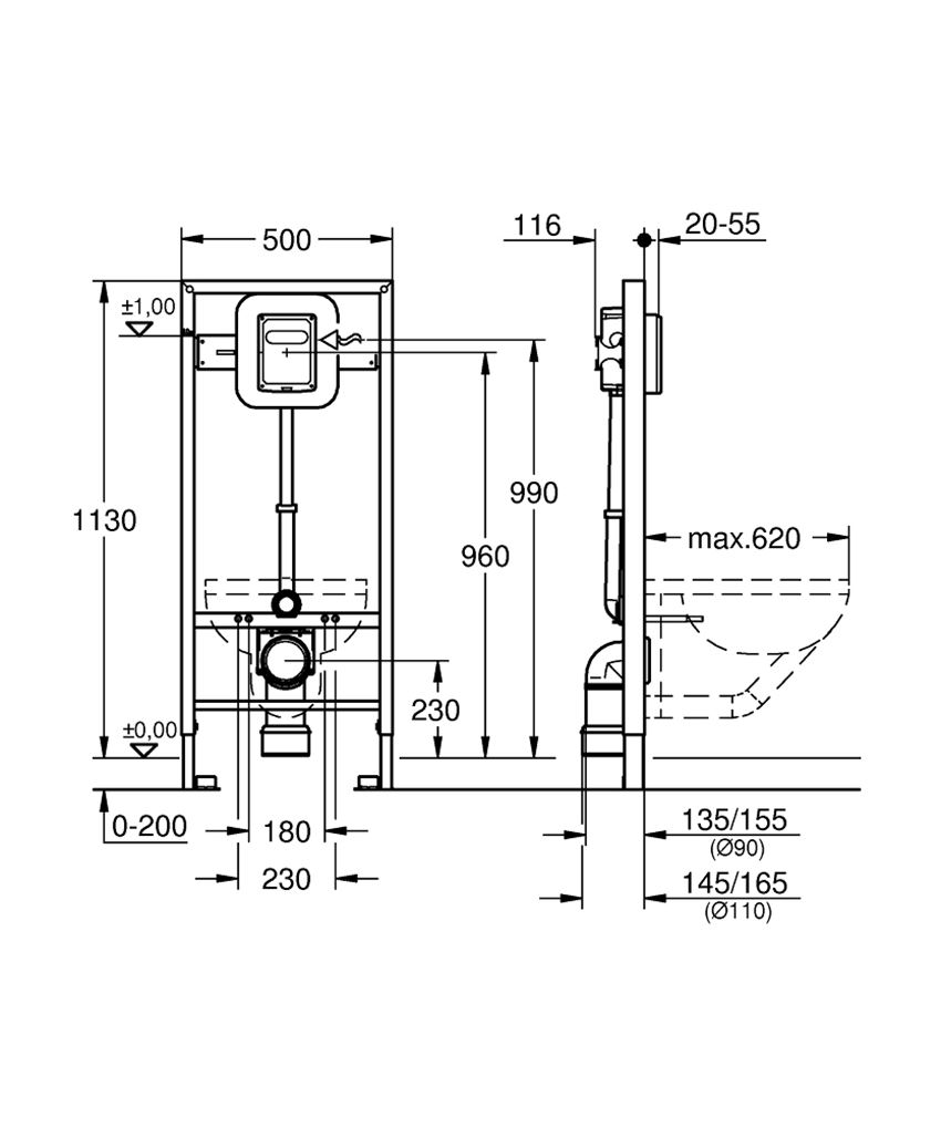Stelaż podtynkowy do WC z zaworem spłukującym Grohe Rapid SL rysunek techniczny